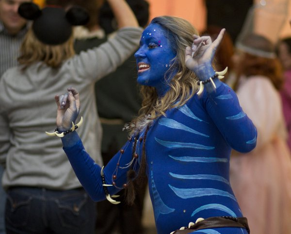 Erin Beck, Overland Park, dressed as a character from Avatar, takes to the dance floor.
