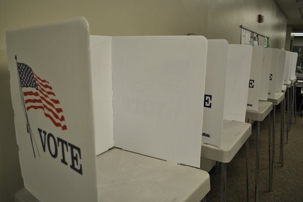 Empty poll booths mark the end of election day at Free State High School November 2, 2010.