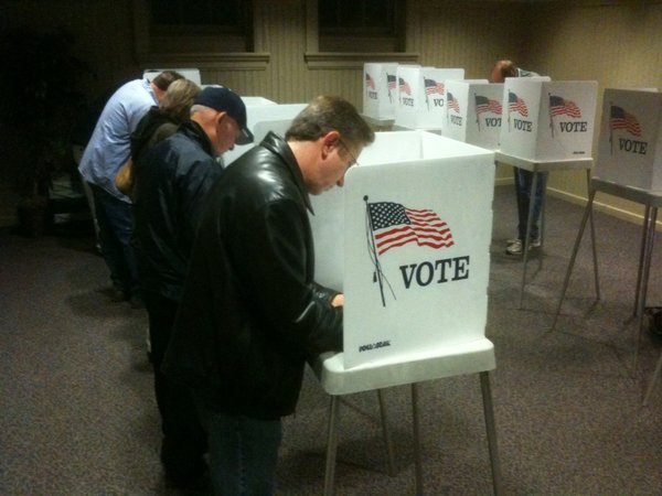 Windell Scott was second in line Tuesday morning to vote at the Union Pacific Depot polling site in North Lawrence.