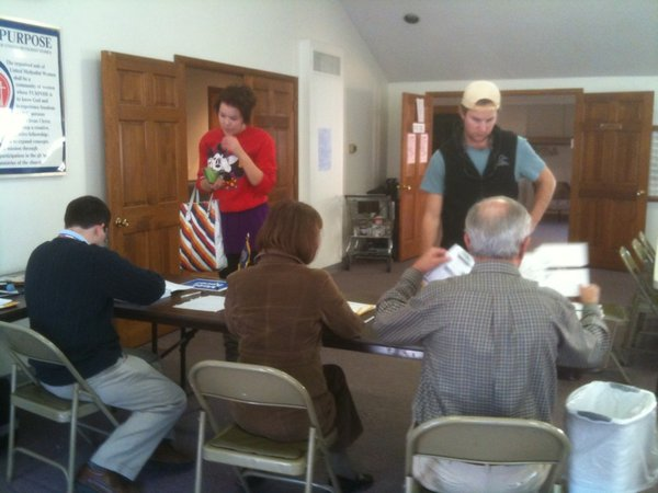 Voters check in at Central United Methodist Church, 1501 Massachusetts St., on Tuesday, Nov. 2, 2010. As of 2 p.m., the polling station at the church had seen 105 voters.