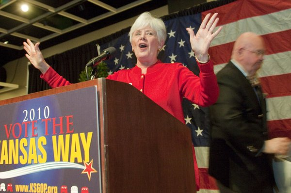 Insurance commissioner Sandy Praeger speaks during a GOP Clean Sweep party Tuesday, Nov. 2, 2010 in Topeka. Praeger said it'll be the first time she's served with a Republican governor.