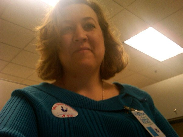 "Twitter user @ladysilk displays her ""I voted"" sticker. In her tweet she says ""I voted and honored 3 veterans in my family."""