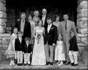 Some of the modern-day descendants of J.D. Bowersock and Irving Hill. From left, back row: Burke Griggs; Emily Hill, Marcia Hill; Stephen Hill; Sarah Hill-Nelson; Eric Nelson. Front row: Hilary Griggs, Lyle Griggs, Hugh Griggs; Molly and Bryan Patten; Oona Nelson; Henry Nelson. Not pictured, Elspeth Caldwell Patten.