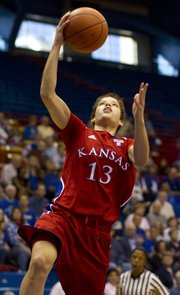 KU's Monica Engelman scored a game-high 20 points.