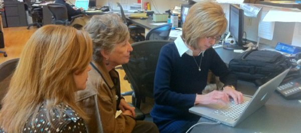 From left, Janice Storey, Eunice Ruttinger and Pat Roach Smith — all leaders at Bert Nash — participate in a live chat for WellCommons.com at The News Center, 645 N.H., on Thursday, Nov. 11, 2010.