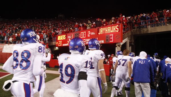 The Kansas Jayhawks leave Memorial Stadium on the losing end Saturday, Nov. 13, 2010.