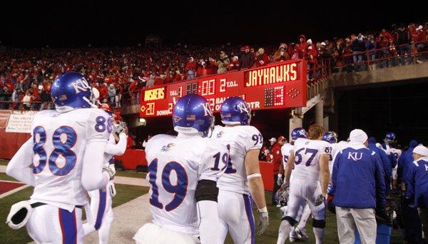 The Kansas Jayhawks leave Memorial Stadium on the losing end Saturday, Nov. 13, 2010.