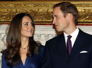 Britain's Prince William and his fiancée Kate Middleton pose for the media at St. James's Palace in London on Tuesday after they announced their engagement. The couple are to wed in 2011.
