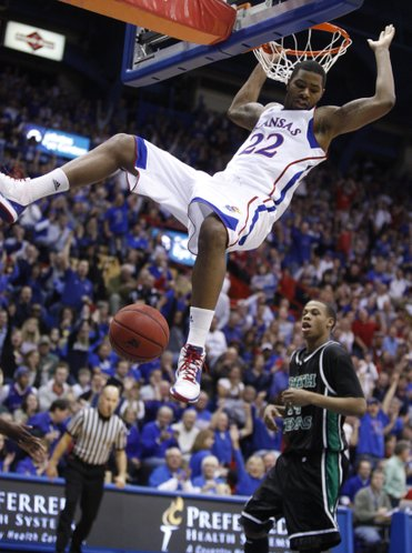 Kansas forward Marcus Morris comes down from a dunk against North Texas during the second half Friday, Nov 19, 2010 at Allen Fieldhouse.