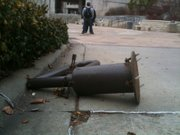 A damaged barrier sits on the sidewalk behind Wescoe Hall on the Kansas University campus on Tuesday, Nov. 23, 2010. The barrier was damaged when a USA Today delivery truck was stolen about 3:40 a.m. The vehicle ultimately ended up being involved in a deadly accident on U.S. Highway 24/59 north of Lawrence.