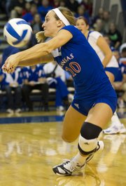 Brianne Riley makes a dig during KU's game against Kansas State Wednesday evening in the Horejsi Center. Kansas State jumped out to a 2-0 lead before KU evened the score at 2-2.  However, the Wildcats were too strong on the final set and defeated the Jawhawks and spoiled Senior Night for KU's four graduating seniors.