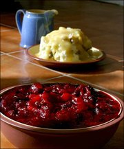 Leftovers such as mashed potatoes and cranberry sauce can be turned into great meals in the days following Thanksgiving.