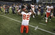 Kansas City's Dwayne Bowe celebrates at the end of the Chiefs' 42-24 victory over the Seahawks on Sunday in Seattle.