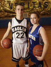 Veritas senior Nate Scott, left, and Caysi Gatts will be leaders for their basketball teams.