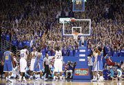 The Fieldhouse watches in anticipation as Kansas forward Mario Little puts up the winning free throw against UCLA with a fraction of a second remaining on the clock during the second half, Thursday, Dec. 2, 2010 at Allen Fieldhouse.