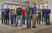 2010 All-Area boys soccer team, from left, Addison Jones, Perry-Lecompton, Justin Riley, Lawrence, Oliver Siemes, Eudora, Dylan Turpin, Perry-Lecompton, Octavio Villa, De Soto, Marcus Titterington, Tonganoxie, Diego Gonzalez, Free State, Mark Joslyn, Baldwin, Tony Libeer, Free State, Zach Wustefeld, Lawrence, Louis Joslyn, Baldwin.