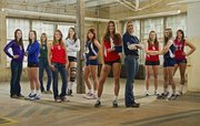 2010 All-Area volleyball team, from left, Ramie Burkhart, Baldwin, Sierra Morgison, Perry-Lecompton, Becca Maasen, De Soto, Kendyll Severa, Lawrence, Meaghan Holmes, Free State, Sarah McDermott, Veritas Christian, Molly O'Hagan, Tonganoxie, Kristen Oberzan, Veritas Christian, Danielle Miller, Tonganoxie, Teri Huslig, Veritas Christian, Allie Johnson, Eudora.