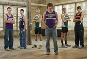 2010 All-Area boys cross country team, from left, Ethan Hartzell, Baldwin, Brandon McCaffrey, Seabury Academy, Logan Sloan, Free State, Tony Weiss, Baldwin, Kain Anderson, Free State, Zach Andregg, Lawrence. Not pictured from the first team is De Soto's Angel Vasquez.