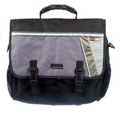 The C-Sport Urban Bent Messenger Bag from Sunlite Cycling (www.sunlitecycling.com) has a reflective strip across the back that can easily be seen at night. Cost: $70 in most bike shops.
