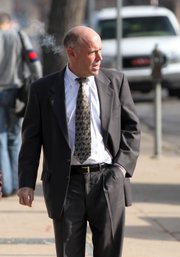 Former Kansas University athletic department's head of fundraising, Ben Kirtland, arrives at the U.S. Federal Courthouse, in Wichita, Kan., on Wednesday, Dec. 8, 2010.