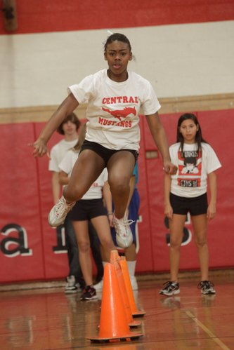Sharkiesha Jackson, 15, participates in Smart Strength, an after-school program, Wednesday, Dec. 8, 2010, at Central Junior High School. She said the program has helped her become a better athlete. She competes in basketball and track.