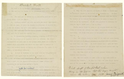 "A photo of the original rules of ""Basket Ball,"" written by James Naismith and sold at auction Dec. 10, 2010. The rules sold for $4.34 million."