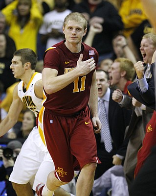 Iowa State guard Scott Christopherson celebrates a three-pointer in the second half against Iowa earlier this season.