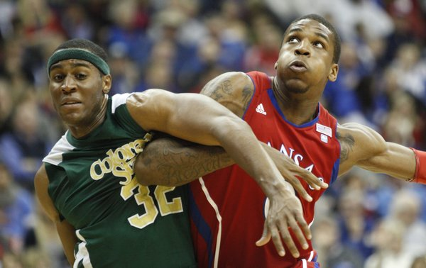 Kansas forward Thomas Robinson works for position against Colorado State forward Andy Ogide during the second half, Saturday, Dec. 11, 2010 at the Sprint Center in Kansas City.