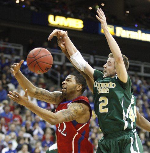 Kansas forward Marcus Morris catches a pass in the paint as Colorado State guard Wes Eikmeier defends during the second half, Saturday, Dec. 11, 2010 at the Sprint Center in Kansas City.