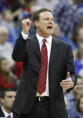 Kansas head coach Bill Self has words for a game official during the second half, Saturday, Dec. 11, 2010 at the Sprint Center in Kansas City.