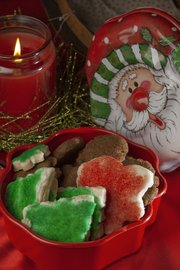 Perfect for gift-giving are two cookies from Lawrence's Betty Lynds: Mom's Soft Sugar Cookies (front) and Gingersnap Gems (back).