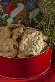 These White Chocolate, Cranberry and Macadamia Nut Cookies make a large amount in a single batch and look effortlessly festive. Recipe from Glenda Mills, McLouth.