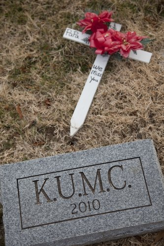 The cremated remains of bodies donated to Kansas University Medical Center for research and education purposes are buried at Oak Hill Cemetery in Lawrence. Several dozen cremains were buried about six weeks ago.