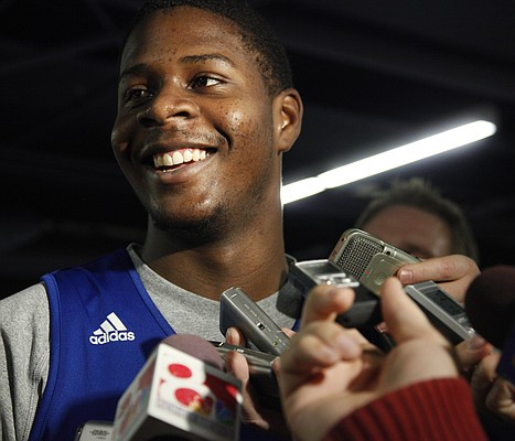 Kansas guard Josh Selby talks with reporters about his excitement for Saturday's game against USC, Thursday, Dec. 16, 2010.