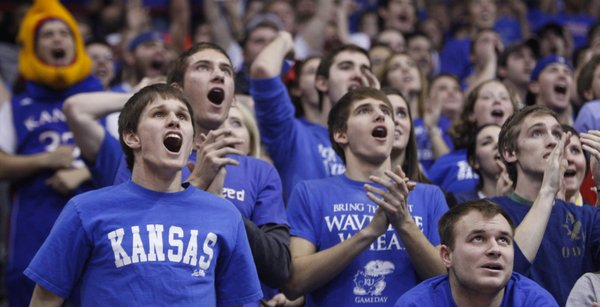 The students section waits in anticipation for the final buzzer to sound during the second half against USC , Saturday, Dec. 18, 2010 at Allen Fieldhouse.