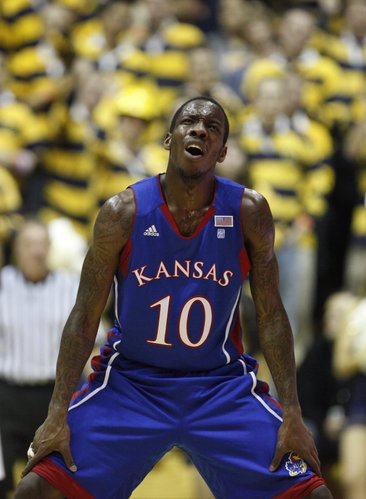 Kansas guard Tyshawn Taylor reacts to a foul called against him during the first half, Wednesday, Dec. 22, 2010 at Haas Pavilion in Berkeley, California.