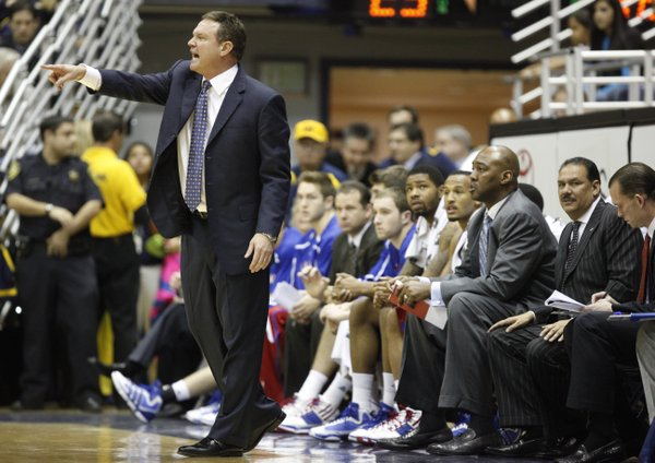 Kansas head coach Bill Self screams at his defense during the first half, Wednesday, Dec. 22, 2010 at Haas Pavilion in Berkeley, California.