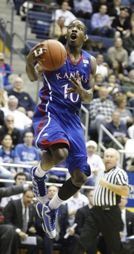 Kansas guard Tyshawn Taylor elevates for a bucket against Cal during the second half, Wednesday, Dec. 22, 2010 at Haas Pavilion in Berkeley, California.
