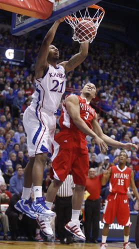 Kansas forward Markieff Morris dunks against Miami (Ohio) University guard Allen Roberts during the first half, Sunday, Jan. 2, 2011 at Allen Fieldhouse.