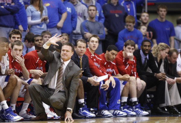 Kansas head coach Bill Self calls a play against UMKC during the first half on Wednesday, Jan. 5, 2011 at Allen Fieldhouse.