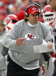 Kansas City Chiefs head coach Todd Haley reacts on the sideline in the Chiefs' playoff loss to the Baltimore Ravens on Sunday, Jan. 9 in Kansas City, Mo.