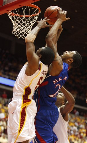 Kansas forward Markieff Morris fights for a rebound with Iowa State guard Darion Anderson during the second half on Wednesday, Jan. 12, 2011 at Hilton Coliseum in Ames, Iowa.