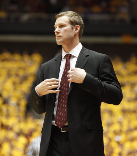 Iowa State head coach Fred Hoiberg watches after a Jayhawk bucket during the first half on Wednesday, Jan. 12, 2011 at Hilton Coliseum in Ames, Iowa.