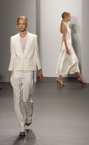 The Calvin Klein spring 2011 collection is modeled during Fashion Week in New York on Sept. 16, 2010.