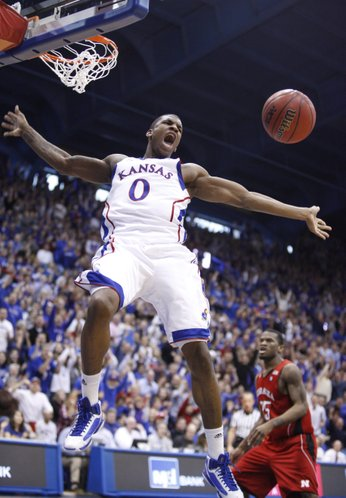 Kansas forward Thomas Robinson comes down from a dunk against Nebraska during the second half on Saturday, Jan. 15, 2011 at Allen Fieldhouse. The Jayhawks hung on for a 63-60 win over the 'Huskers.