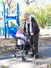 Nancy Carter, right, is pictured with her granddaughter, Audrey. Nancy Carter died of cancer in February 2010. During her hospice days, Teller's restaurant delivered weekly meals for her.
