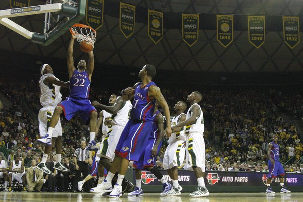 Kansas forward Marcus Morris delivers a jam on the Baylor defense during the first half on Monday, Jan. 17, 2011 at the Ferrell Center in Waco, Texas.