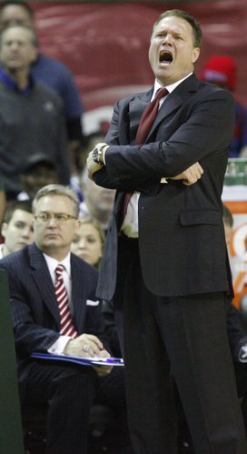 Kansas head coach Bill Self yells at his defense as Baylor cuts the lead during the second half on Monday, Jan. 17, 2011 at the Ferrell Center in Waco, Texas.