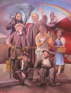 """Famous Kansans"" by Elaine Lierly- Jones, which includes Emmett Kelly, Dwight David Eisenhower, Buffalo Bill Cody, Amelia Earhart, Buster Keaton and Judy Garland, who played Dorothy in ""The Wizard of Oz."" This painting is part of a collection commissioned by the Kansas Lottery to celebrate the state's 150th birthday."