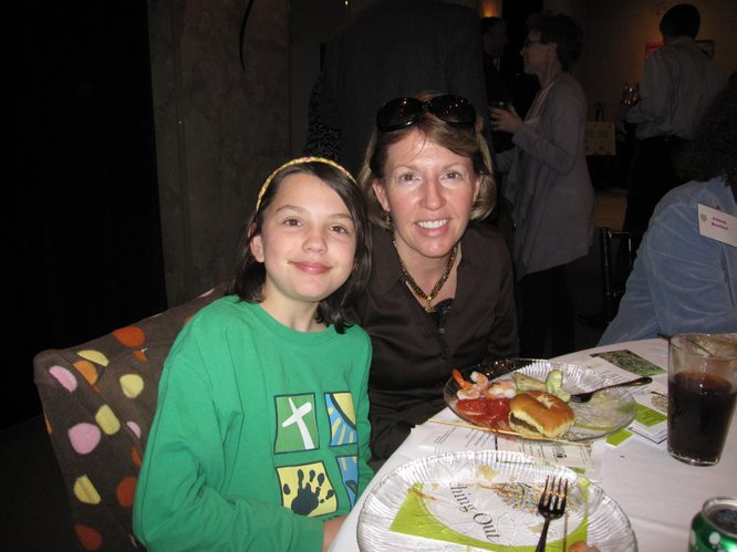 Sydney Vogelsang, 11, and her mom Linda Koester-Vogelsang, attend the Lawrence Memorial Hospital Endowment Association annual meeting Thursday, Jan. 27, 2011, at Maceli's. Linda is a nurse at LMH.